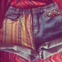 Indian Summer Tribal High Waisted Cuff shorts