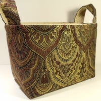 Fabric Basket Organizer Bin Storage Container-Brown/Olive/Tan Tapestry Print with Light Tan Interior