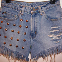 Studded High Waisted Denim Shorts