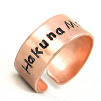 Hakuna Matata Bright Copper Hand Stamped Ring | foxwise