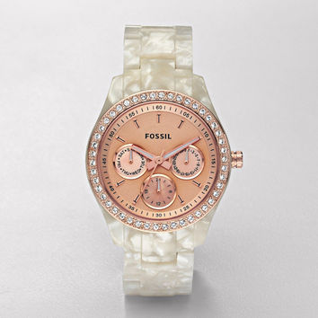FOSSIL® Watch Collections Stella Watches:Women Stella Resin Watch - Pearlized White with Rose ES2887