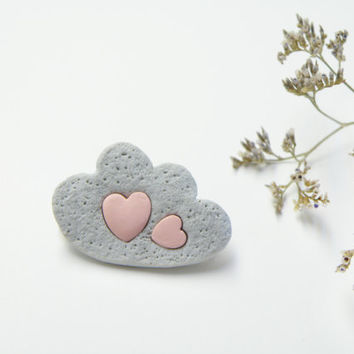 Grey Cloud brooch with pastel pink hearts. Polymer clay jewelry, tender brooch Gift idea for her, romantic, vanilla style. FREE SHIPPING