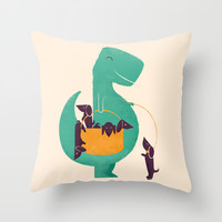 T-Rex and his Basketful of Wiener Dogs Throw Pillow by Jay Fleck