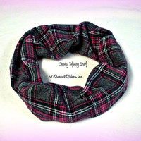 Handmade Infinity Scarf Plaid Flannel,Pink and Black Plaid, Cowl Plaid Infinity,Plaid Flannel Chunky, Women Fall Circle Scarf, Ready to ship