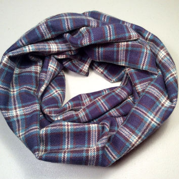 Handmade Infinity Scarf Plaid Flannel, Child, Kid Size, Double Layer.  Dark Blue, Tan and Brown Tartan - Christmas Holiday Gift