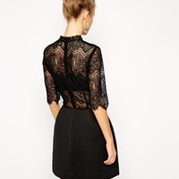 ASOS High Neck Lace Top With Bonded Lantern Skirt