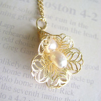 Gold Shell filigree Charm Necklace Calla by RachellesJewelryBox
