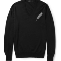 Alexander McQueen - Feather-Embroidered Fine-Knit Wool and Silk-Blend Sweater | MR PORTER