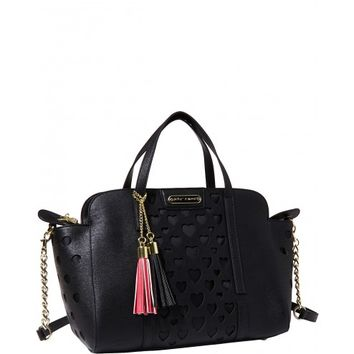 Betsey Johnson Black Open Your Heart Large Satchel Bag