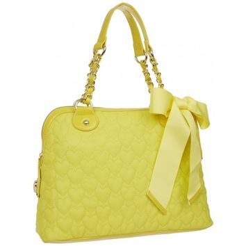 Betsey Johnson Yellow Be My One And Only Later Quilted Dome Satchel Bag