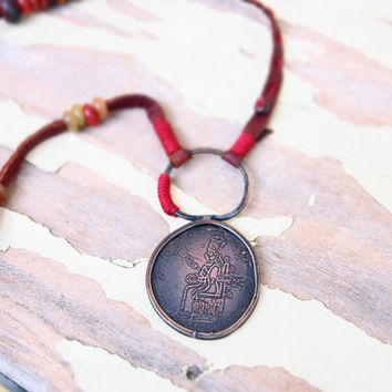 Even a little worship is better than nothing - Ishtar necklace - rustic pendant necklace with Mesopotamian goddess