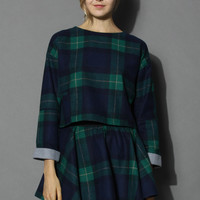 Roll Up Green Plaid Top and Skirt Set Green