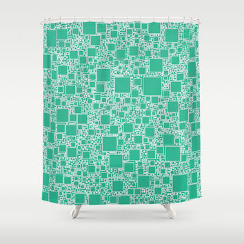 Boxes Teal Shower Curtain by Alice Gosling