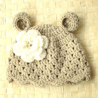 Crochet Animal baby hat Kids Baby girl Bear hat Newborn hat photography props baby shower gift children clothing   Eco-Friendly clothing