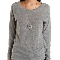 Oversized Raglan Sleeve Pullover by Charlotte Russe - Heather Gray