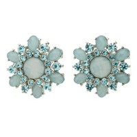 Faceted Stone Flower Stud Earrings by Charlotte Russe - Lt Blue