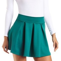 Pleated Skater Skirt by Charlotte Russe - Forest Green