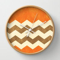 Orange, Brown and Cream Chevron Wall Clock by Kat Mun | Society6