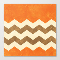 Orange, Brown and Cream Chevron Canvas Print by Kat Mun | Society6