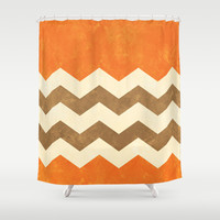 Orange, Brown and Cream Chevron Shower Curtain by Kat Mun | Society6