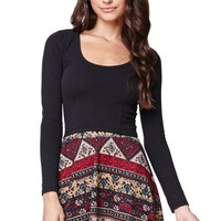 LA Hearts Ethnic Sweater Skater Skirt - Womens Skirt - Floral