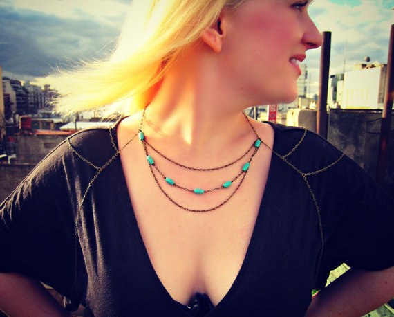 turquoise body chain, chain harness, body jewelry, turquoise necklace, statement necklace, unique necklace