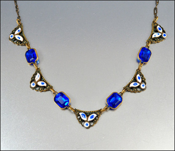 antique art deco necklace czech glass from boylerpf fab