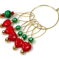 Red Heart Green Stitch Markers Snagless DIY Knitting Tools Beaded Knitting Gift for Knitter Snag Free