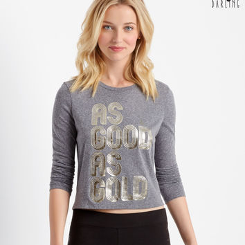 Aeropostale  Tokyo Darling Long Sleeve Gold Graphic T