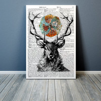 Mandala print Deer poster  Dictionary art Modern decor
