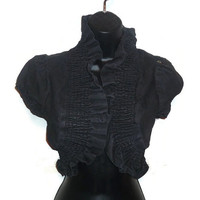 Dark Denim Ruffle Steampunk Inspired Gear Chain Bolero Shrug Jacket Womens Clothing Medium