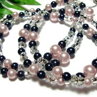 Navy Blue Pink Crystal Pearl Lanyard Id Badge Holder Necklace Angel