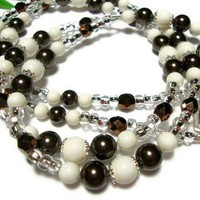 Ivory Chocolate Brown Crystal Pearl Lanyard Id Badge Holder Necklace
