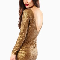 Stormy Gold Metallic Sequin Dress in Gold