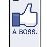 iPhone 4 case iPhone 4s case - A Boss Geek Funny  iPhone Hard Case-graphic Iphone case