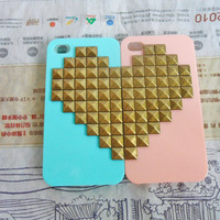iPhone 4 4S hard Case Cover with bronze heart-shaped pyramid stud For iPhone 4 Case, iPhone 4S hand Case cover,iPhone 4 GS case-143