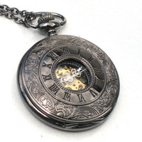 Steampunk - ROMAN NUMERALS Mechanical Pocket Watch - Necklace -  Black Face Roman Numberal Numbers  - Neo Victorian - GlazedBlackCherry