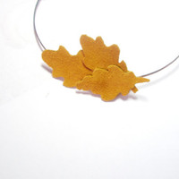 Leaves headband Mustard Yellow headpiece Leather Leaf Headband
