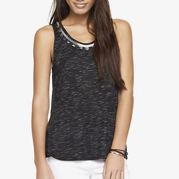 EMBELLISHED SPACE DYED SPLIT BACK TANK from EXPRESS