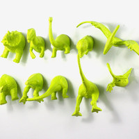 Chartreuse Dinosaur Magnets - 10 piece set in Apple Green - Party Favors