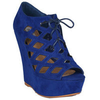 Neway by Beston Women's 'Adela' Blue Wedges Sandals | Overstock.com