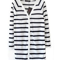 Women Knitting Casual White Stripped Long Sleeve One Size @A5011w