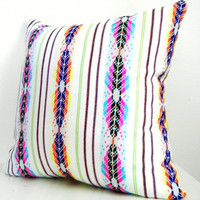 Geometric Decorative Pillow. Tribal. Aztec. African. Bright. 14x14 Inch.