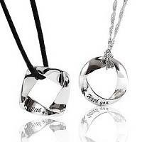 925 Sterling Silver WITH YOU Couple Necklace