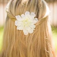 Medium White Flower Hair Accessory with Pearl Center