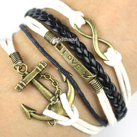 Anchor &amp; Infinity Bracelet, antique bronze anchor bracelet and infinity wish bracelet, brown braid and white wax cords bracelet