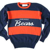 Shop Now! Ugly Sweaters: Vintage 80s Chicago Bears Cliff Engle Football Ugly Sweater Men's Size Large (L) $60 - The Ugly Sweater Shop
