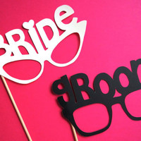 Photo Booth Props - Bride and Groom Glasses - Set of 2 - Weddings - Photobooth Props