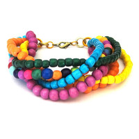 Vibrant Rainbow Multi Strand Twist Bracelet wood beads