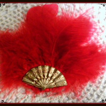 Red Feather and Fan Hair Clip